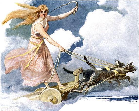 Freya Norse Goddess From Vintage Illustration Wife Of Odin