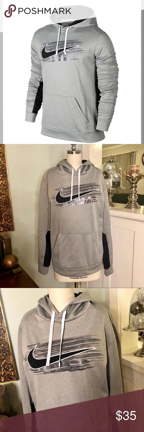 Men S Nike Swoosh Therma Fit Gray Hoodie Pullover Grey Hoodie Black Sweatshirt Hoodie Grey Black Hoodie [ 1740 x 580 Pixel ]