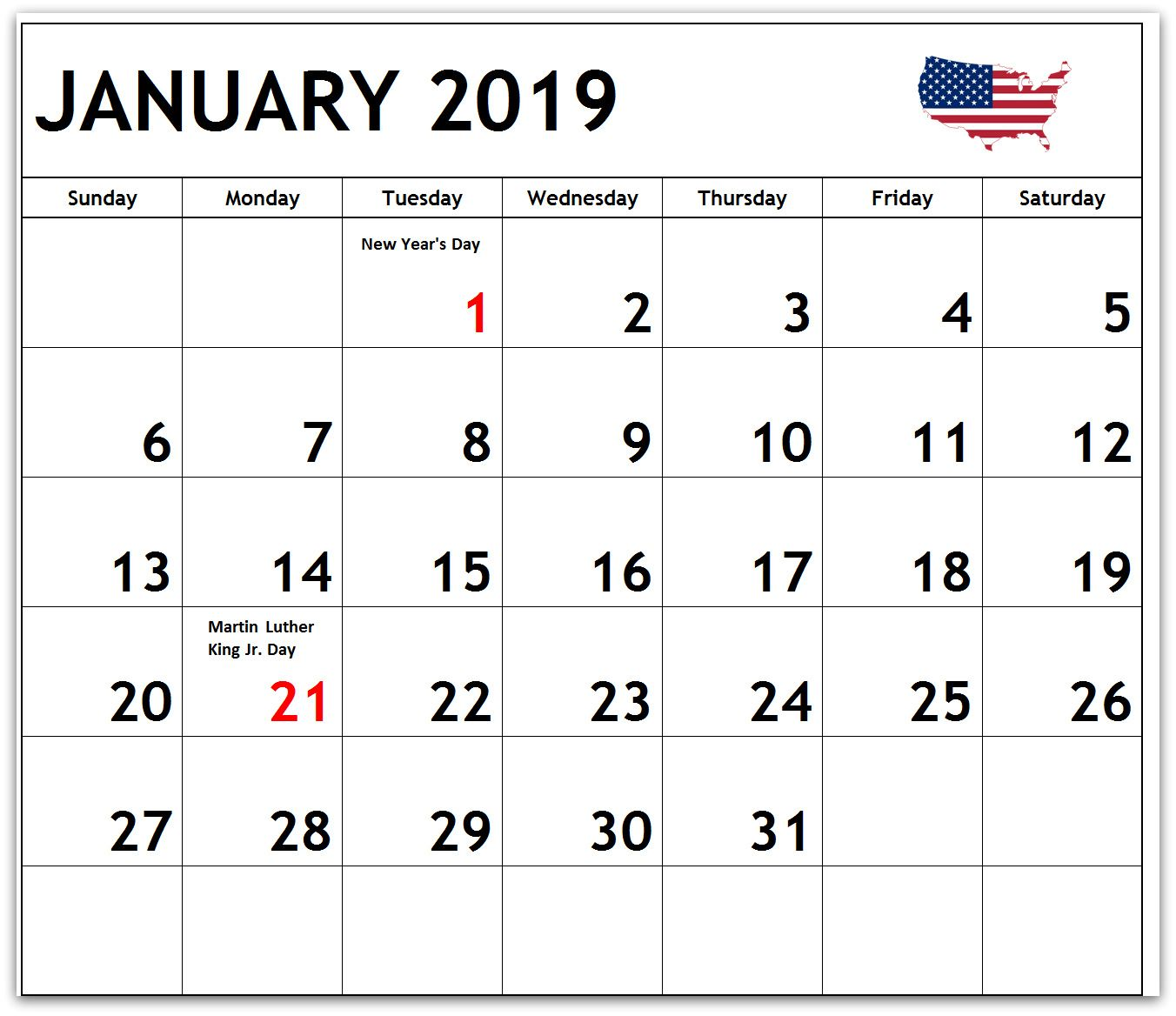 January 2019 Calendar Us Holidays january 2019 us holidays calendar | 2019 Calendars in 2019