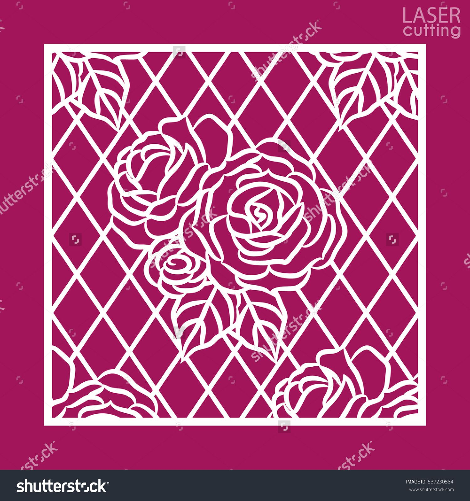 Stock vector laser cut square ornamental panel with pattern of roses laser cut square ornamental panel with pattern of roses template of wedding invitation or greeting card cabinet fretwork panel metal design wood carving stopboris Images
