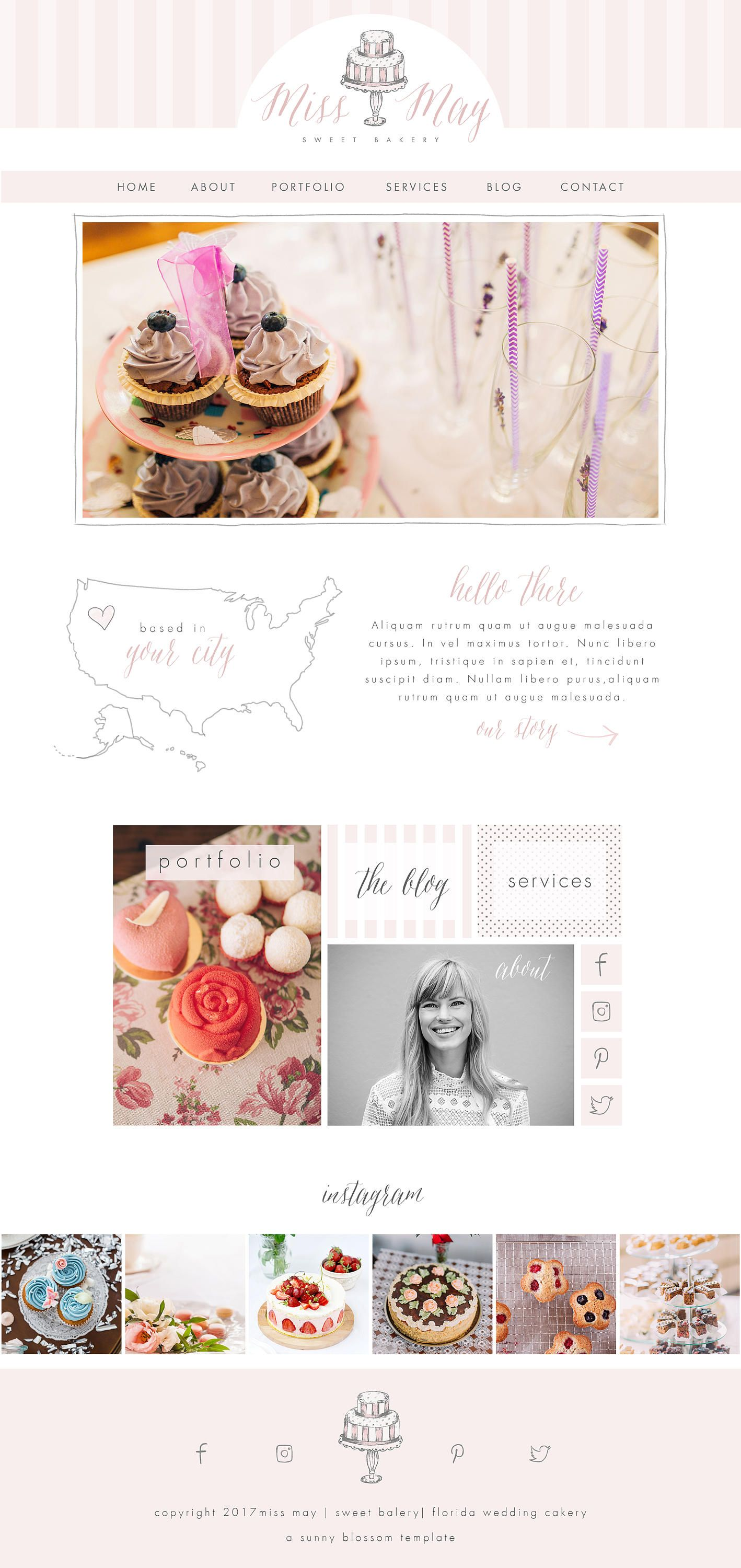 Wix Website template, website design, bakery website