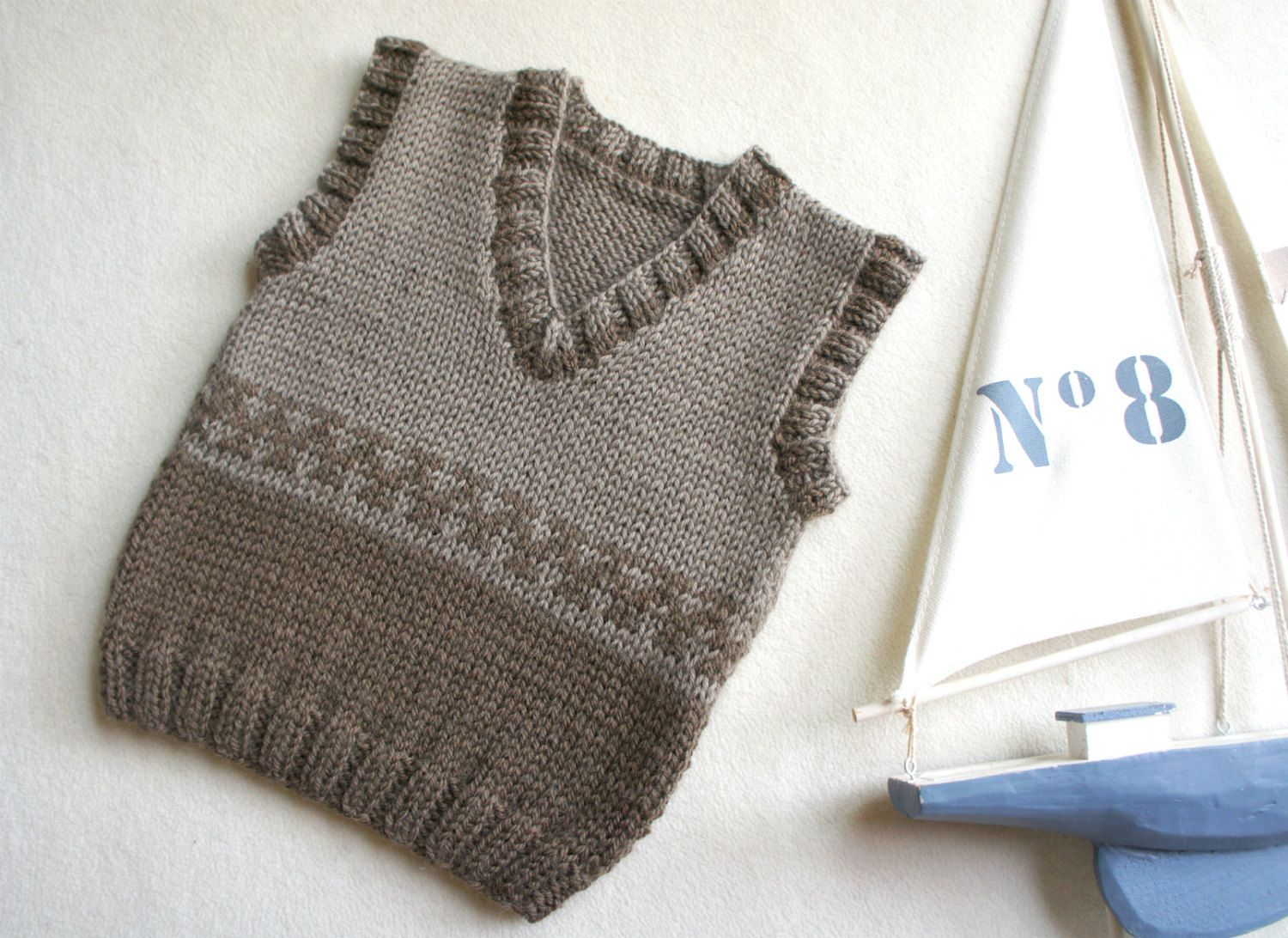 Knit baby vest, wool baby tank, knitted brown ves, boys hand knit vest