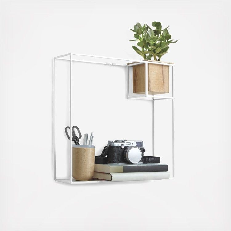 Metal Shelf Display With Wood Planter Floating Cube Shelves