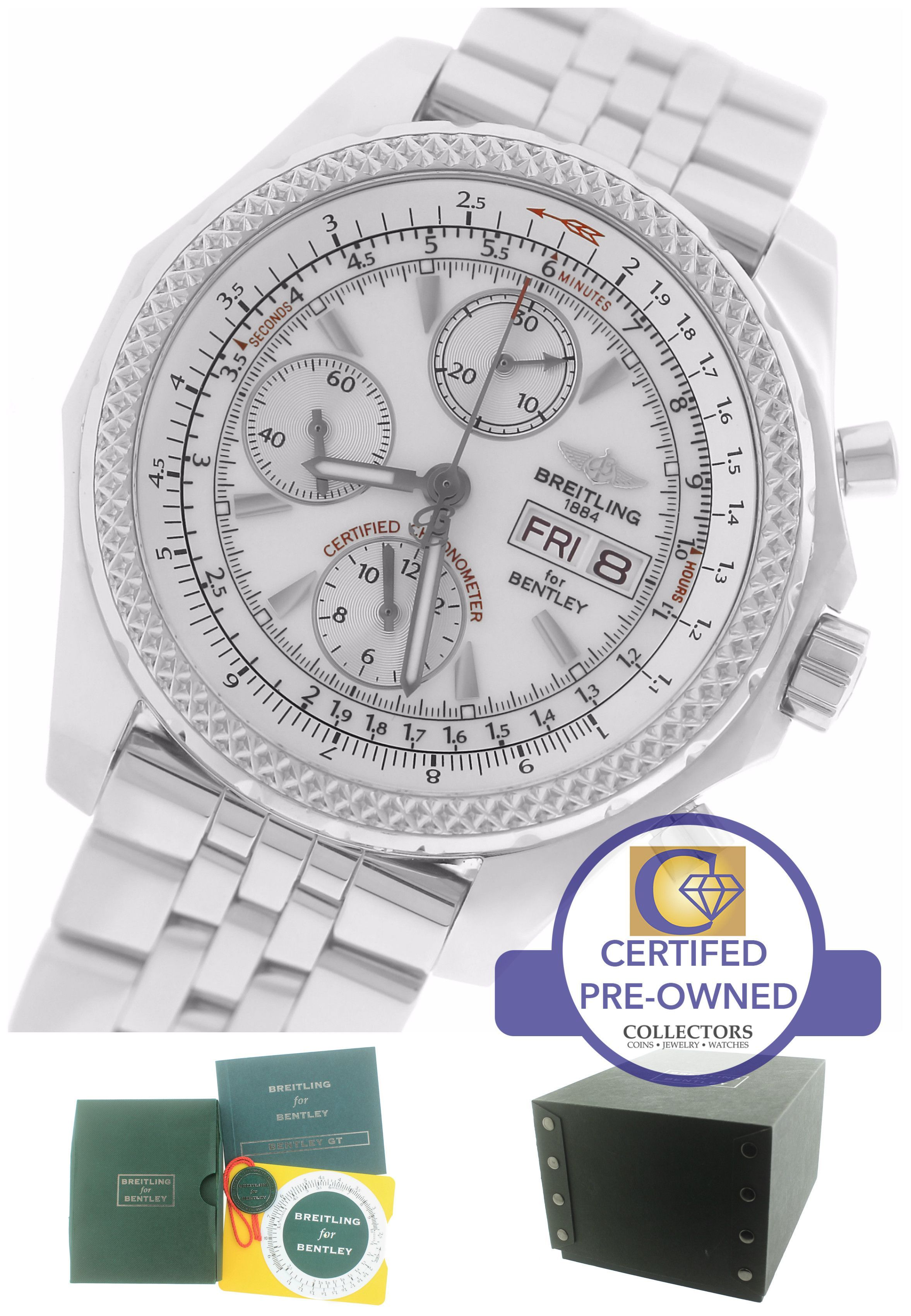 gt white chronograph day date bentley pin watch stainless breitling