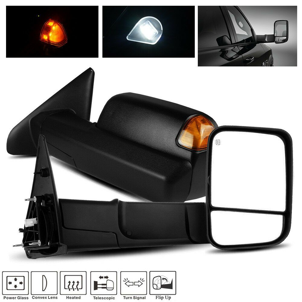 For 02 09 Dodge Ram 1500 2500 3500 Power Telescoping Towing Mirrors Amber Signal Racerinnovation Towing Mirrors Towing Dodge Ram 1500
