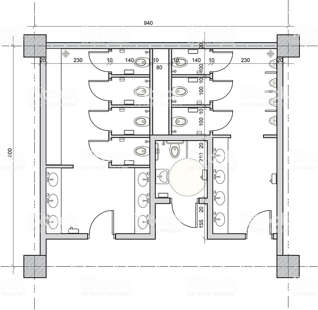 Vector Drawing Of Public Restroom With Separate Handicapped Toilet