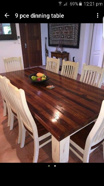 Dark Wood Dining Table With White Legs