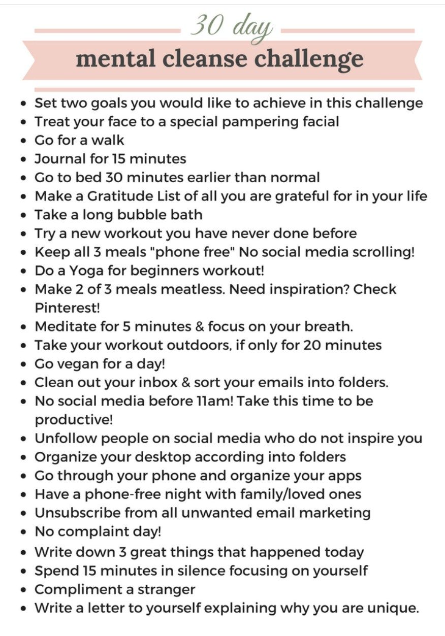 30-day Mental Cleanse Challenge | Jennadesigns