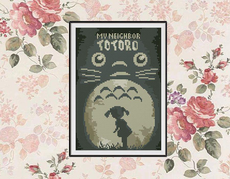 BOGO FREE! My Neighbour Totoro Cross Stitch pattern, Ghibli Cross Stitch Miyazaki pattern Embroidery Needlework PDF Instant Download #015-7 by StitchLine on Etsy