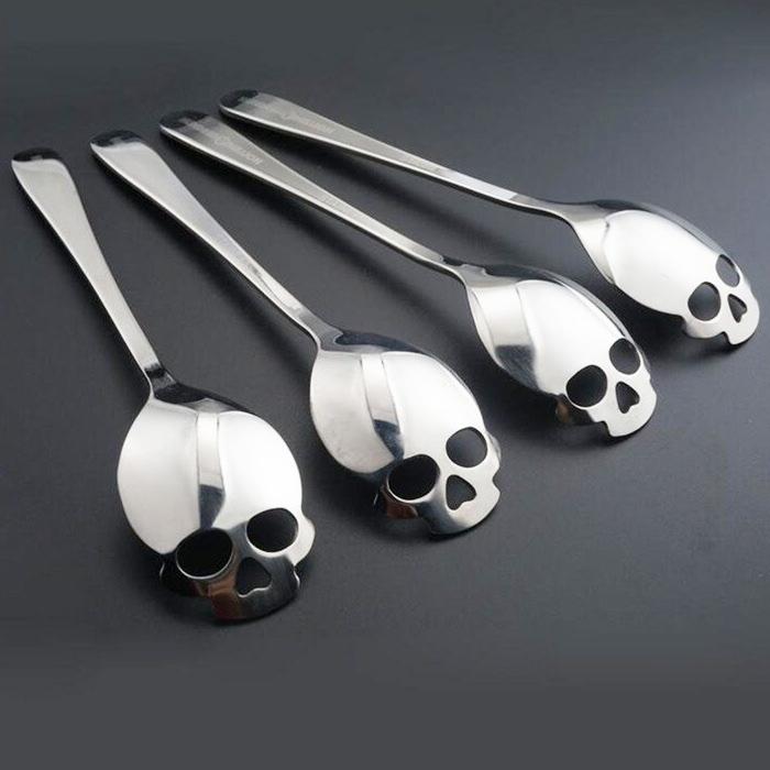 304 Stainless Steel Skull Coffee Sugar Spoon Dessert Teaspoon Kitchen Spoons UK