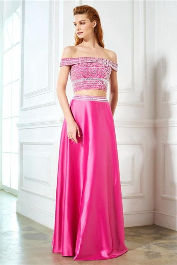 2 Pieces Off The Shoulder Sparkly Pink Long Beading Cute Prom ...