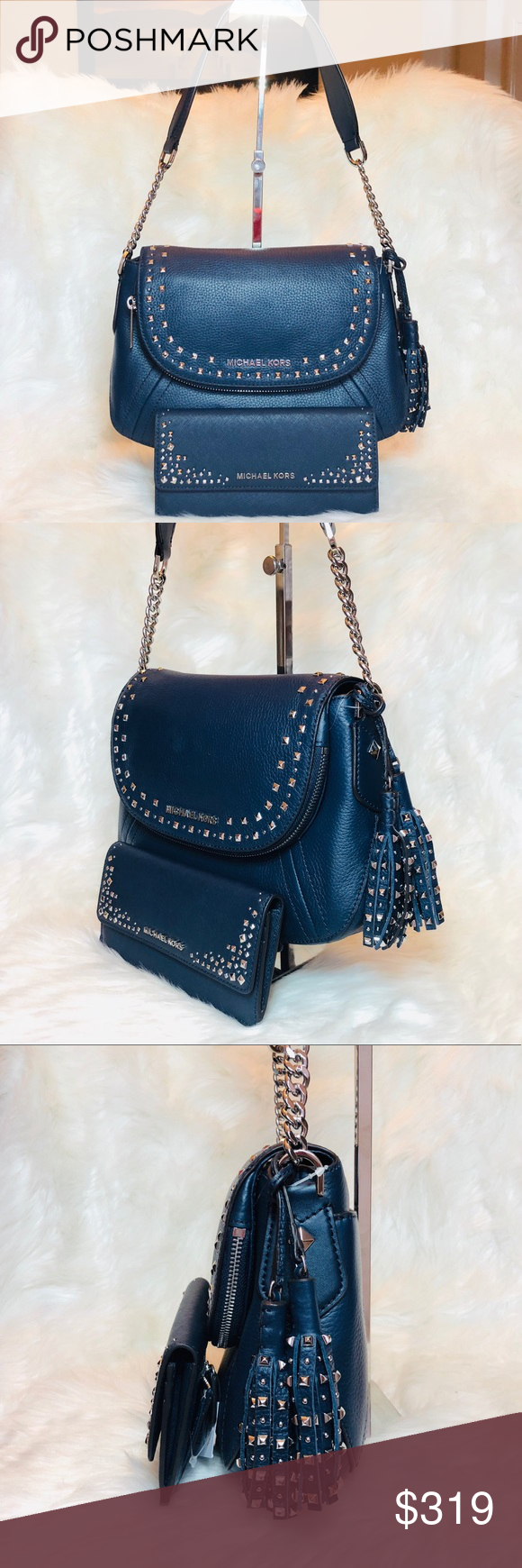 96b9f5ab85ca Michael Kors Studded Aria Shoulder bag and Wallet Michael Kors Aria  Convertible Stud Tassel Medium Navy Blue Leather Rare Shoulder Bag and  Matching Wallet ...