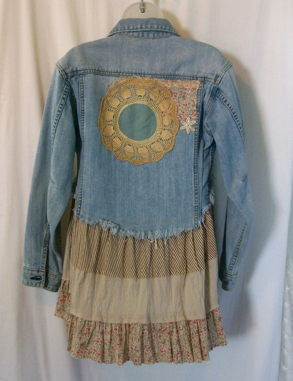 Embellished Denim Jacket Jean Jacket Bohemian By Lamaluz On Etsy Embellished Denim Jacket Upcycle Clothes Refashion Clothes [ 1500 x 1153 Pixel ]