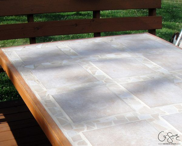 DIY Tiled Patio Table Top By Q Schmitz Featured On @Remodelaholic