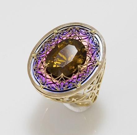 Tianium and Gold Ring with a citrine by Mark Baldin. designer / titanium jewelry / art jewelry