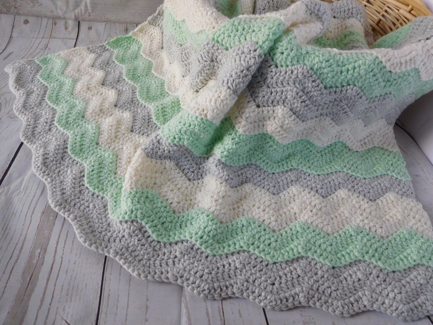 Mint green gray and ivory crochet baby blanket. Gender neutral baby ...