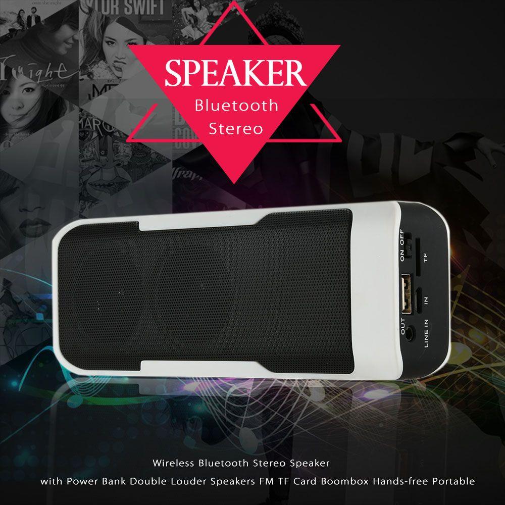 Wireless Bluetooth Stereo Speaker Super Bass Portable 4000mah Power Bank Double Louder Speakers Fm Tf Usb Hands Free Stereo Speakers Wireless Speakers Speaker