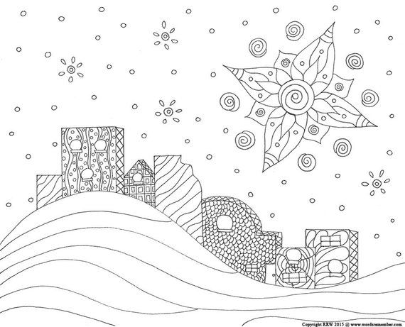 Adult Coloring Page Star Of Bethlehem Christmas Coloring