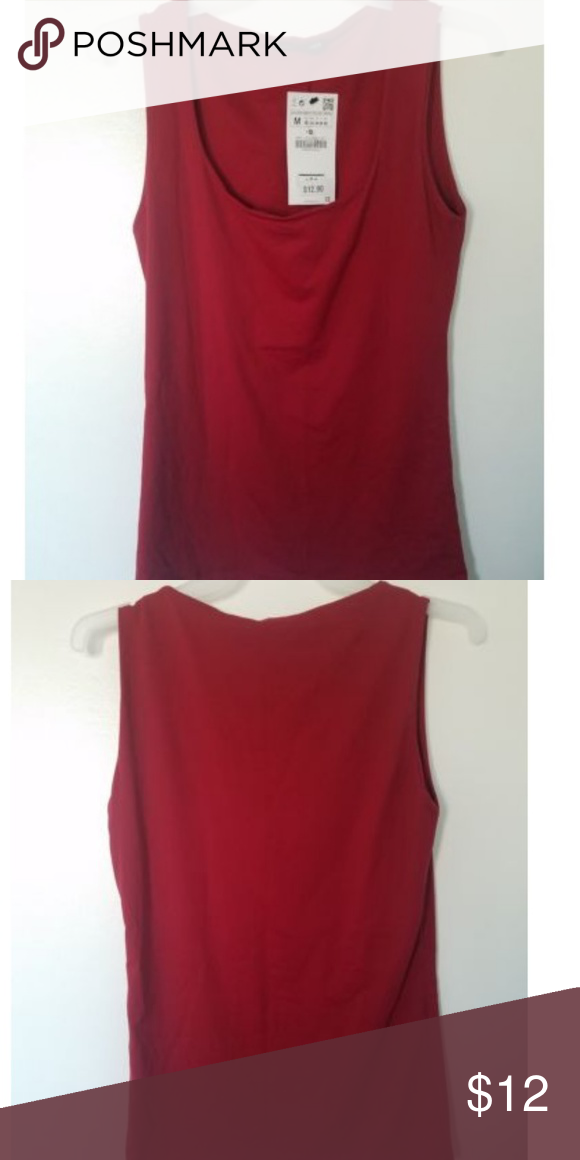2cc36324ac118 Zara Woman Wide strap stretch top M Maroon Zara Woman Wide strap stretch  top M Maroon New with tags. Size: Medium Materials: 92%polyamide 8%  elastane All ...