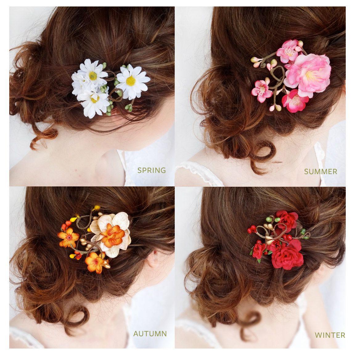 Flower Hair Clips Gift Set Daisy Flower Hair Clip Pink Cherry