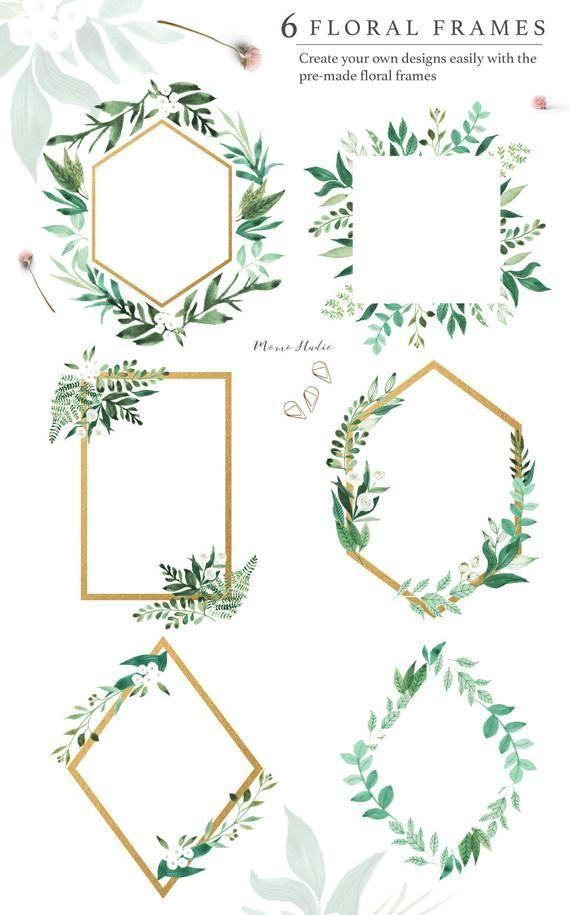 Aquarell Florale Rahmen Floral Greenery Gold Frames Spring Summer Greenery Hochzeits Einladung Clip Kunst Weisse Blumen In 2020 Karte Hochzeit Einladungen Blumenrahmen