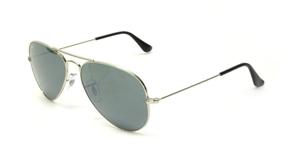 fbe51d8958 Ray Ban RB3025 W3275 55 Silver Gray Mirror Large Aviator Bundle-2 Items.
