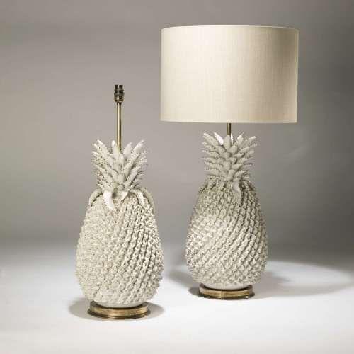 Pair Of Large Cream Ceramic Pinele Lamps On Distressed