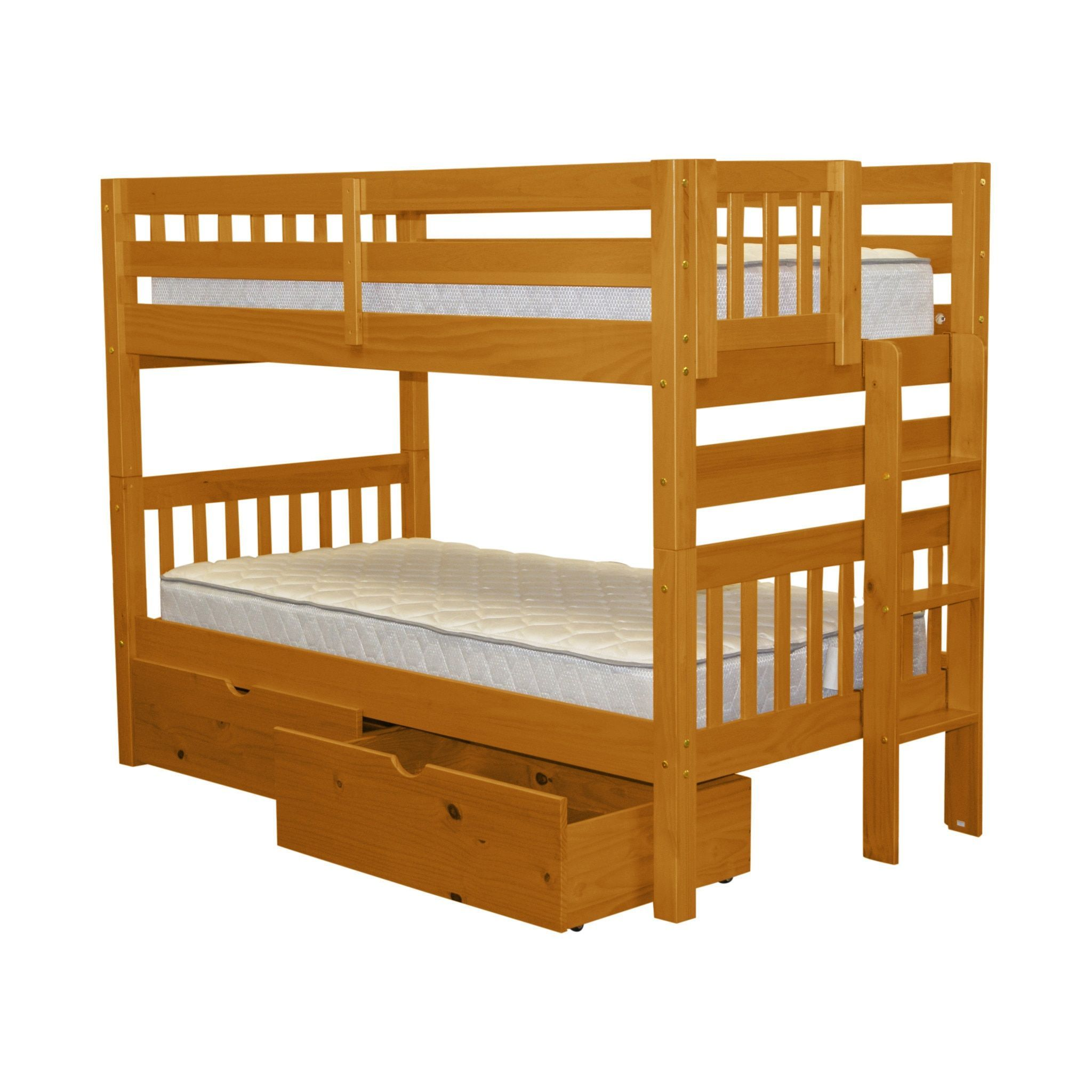 Bedz King Bunk Bed Twin Over Twin With End Ladder And 2