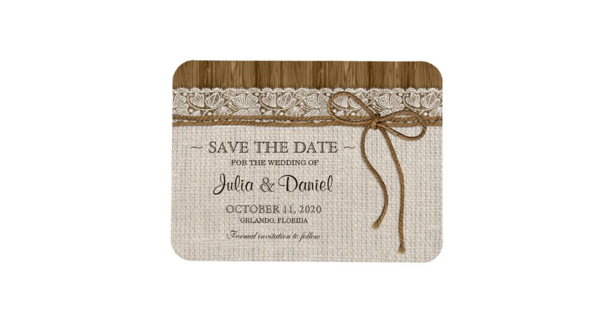 rustic save the date magnet with burlap and lace lace wedding save