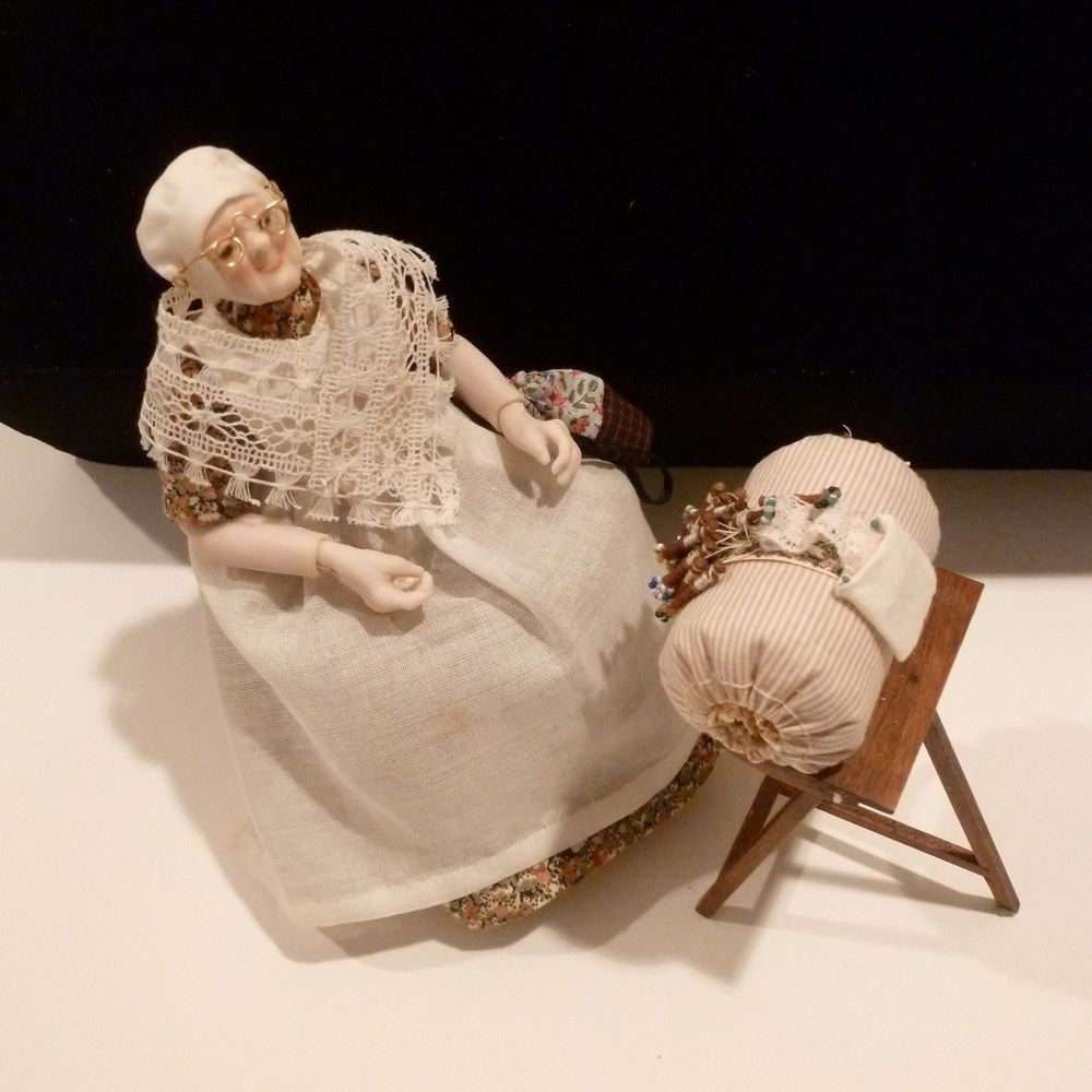 Exquisite Lace Maker Doll By Sylvia Lyons With Bobbin Lace Making Pillow Stand Bobbin Lace Lace Making Bobbins