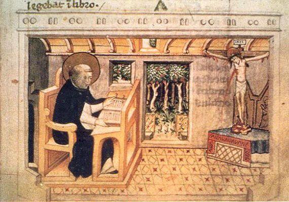 Dominicus leest en mediteert modo orandi 8 MS Rossianus Biblioteca Apostolica Vaticana