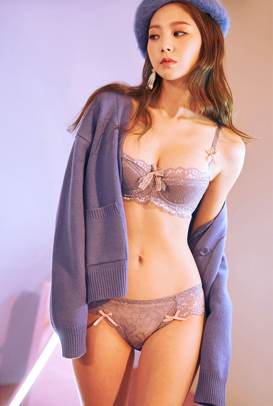 Lace Me Down Bra and Pantie Set  GREY  - I know you wanna kiss me. Thank  you for visiting CHUU. 08bb7053e