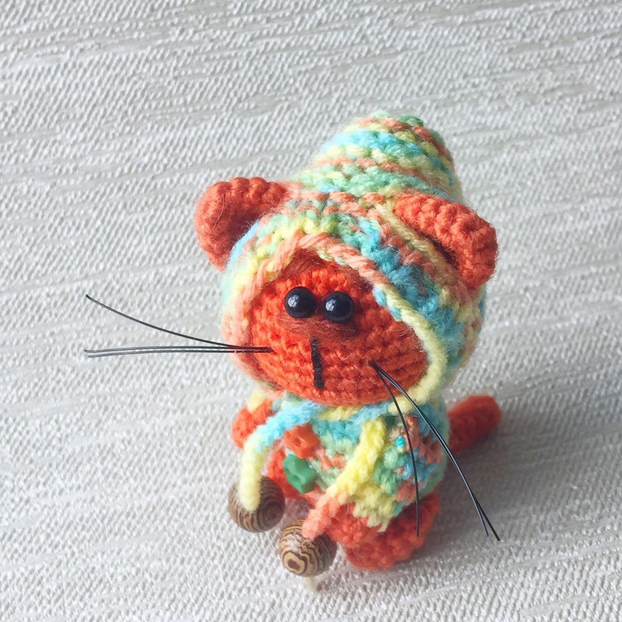 Small crocheted ginger kitten in rainbow hat Handmade decor Collectible toy Cute gift Memory softy cat Crochet mini toy Handmade cat #gingerkitten Excited to share this item from my #etsy shop: Small crocheted ginger kitten in rainbow hat Handmade decor Collectible toy Cute gift Memory softy cat Crochet mini toy Handmade cat #toys #birthday #red #thanksgiving #rainbow #roomsinteriordecor #cutekittyinhat #miniaturetoycat #crochetedredcat #gingerkitten