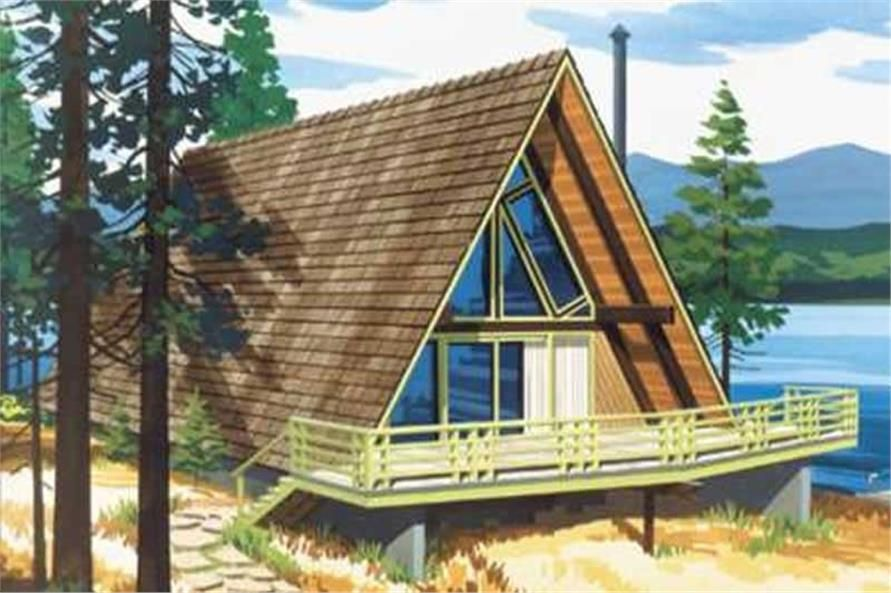 This is a colored rendering of A Frame House Plans LS-H-6-LA ...