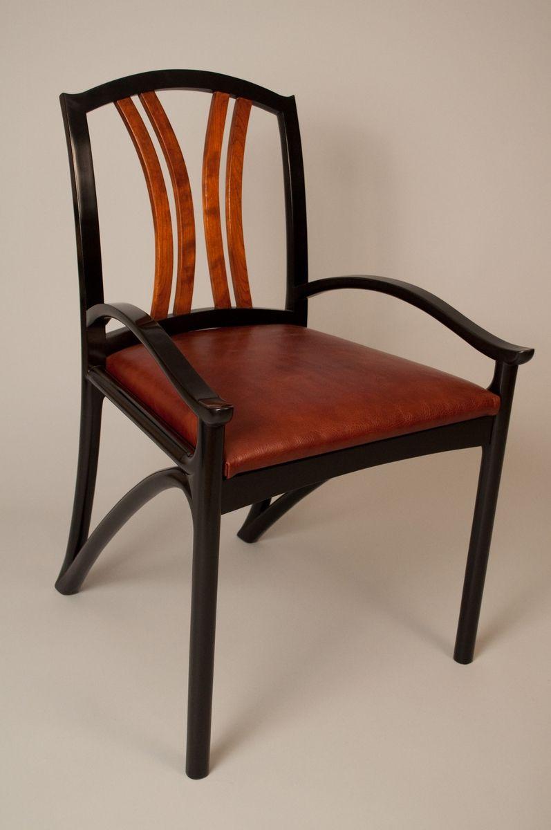 Custom Designed Black Lacquer Chair