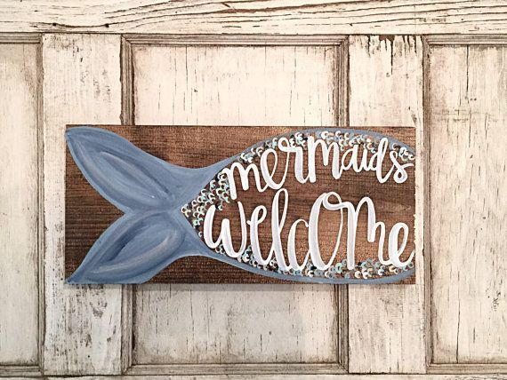 Mermaid Sign | Mermaid Bedroom Wall Decor | Mermaid Bathroom Wall Art | Mermaid Art | Mermaids Welcome Sign | Mermaid Birthday Party Decor #mermaidbedroom Mermaid Home Decor Hand Painted Sign by SalvagedChicMarket #mermaidsign