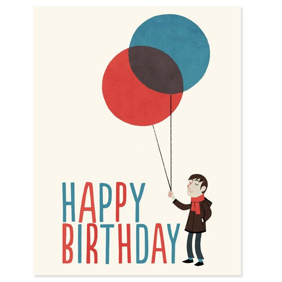 Man with Balloons Happy Birthday Card by RadioRoadPress on Etsy – Birthday Cards for Man