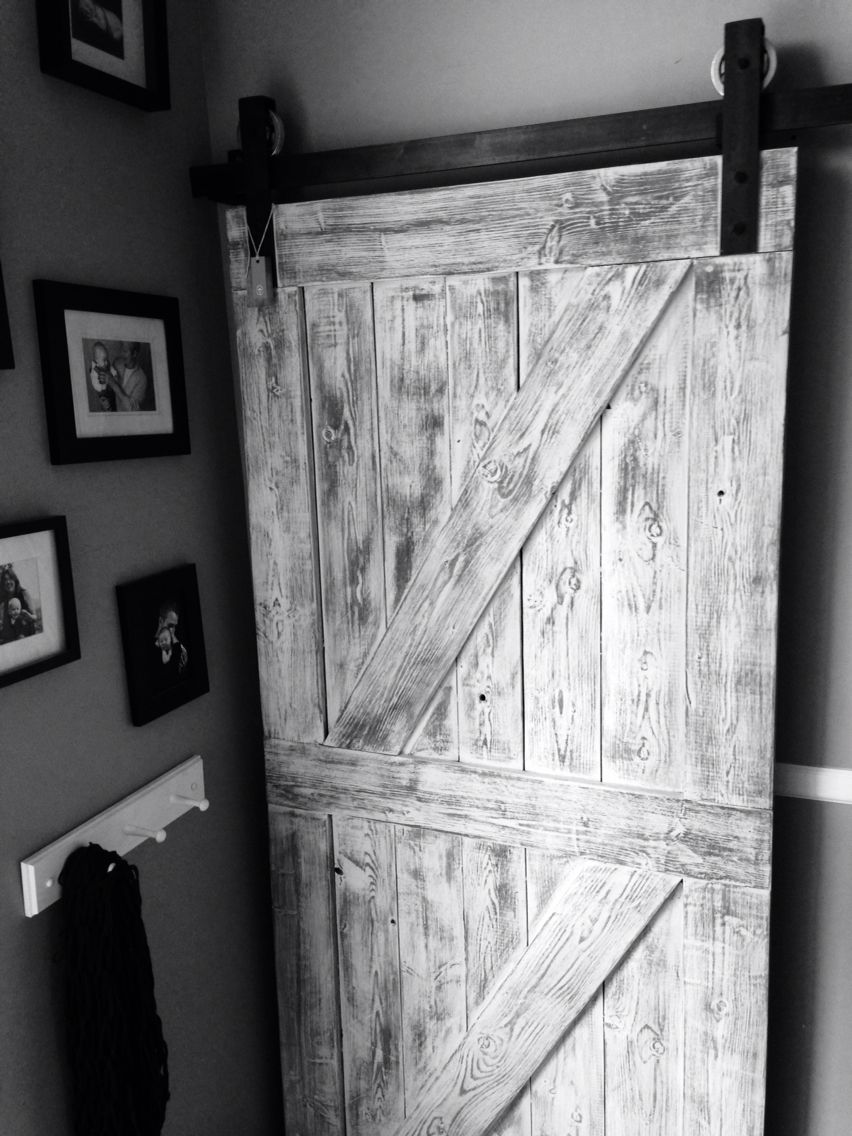 Rustic White And Grey Double Cross Interior Barn Door From Goatgear Barn Door Interior Sliding Barn Doors Barn Doors Sliding
