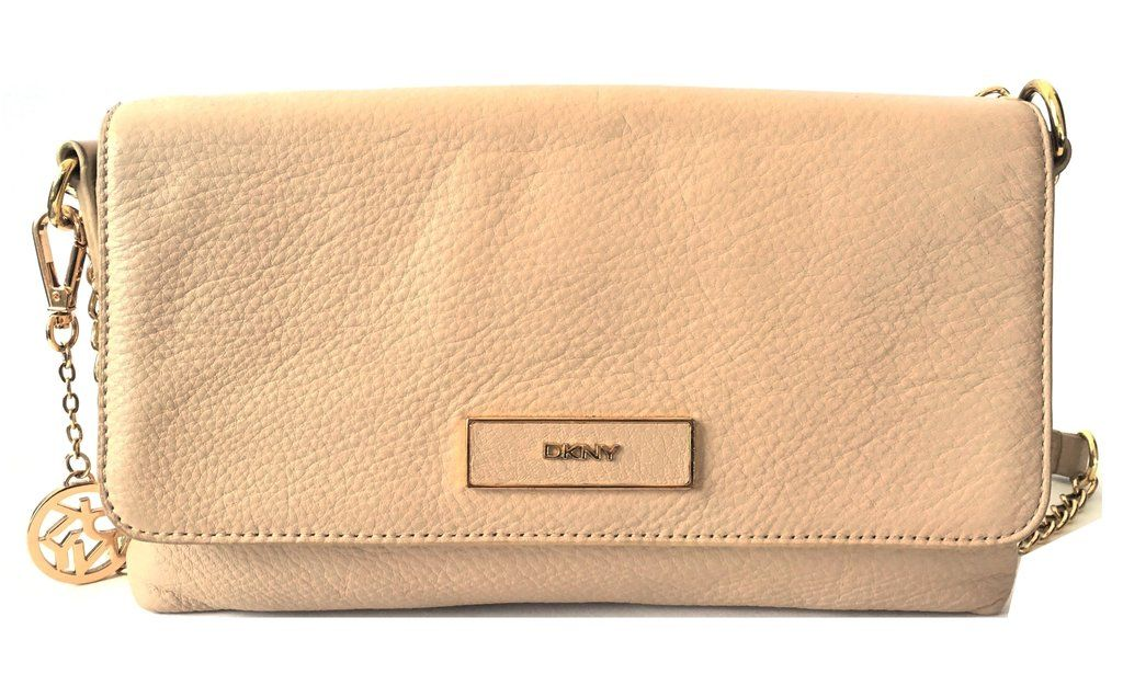 DKNY Beige Leather Shoulder Bag Pre Loved Leather