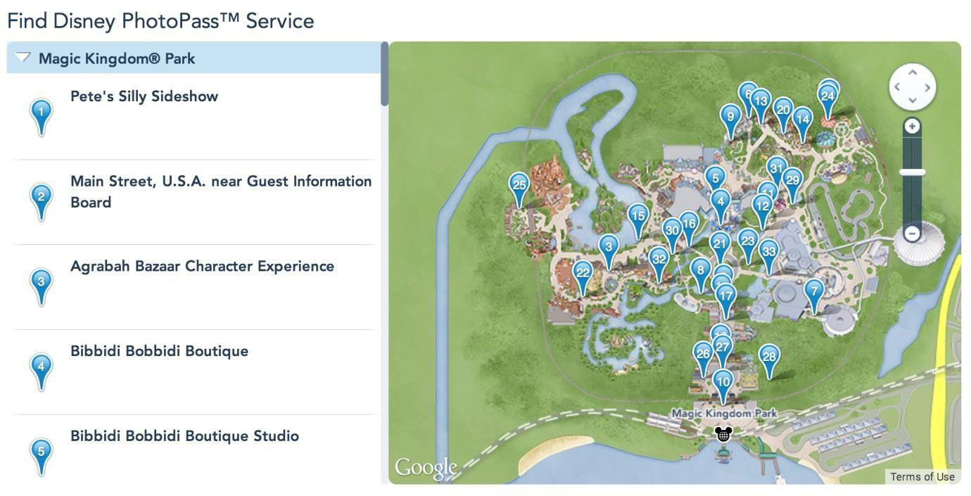 mapa Photopass Disney World