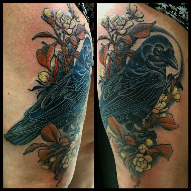 759805749c9b3 Crow tattoo by Emily Wood - Black Heart Tattoo Studio, Epsom, UK -  @emblackheart