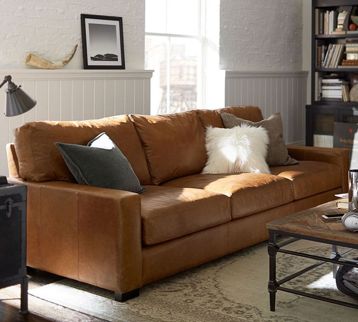 Charmant Turner Square Arm Leather Sofa   Vintage Caramel (217 Cm)