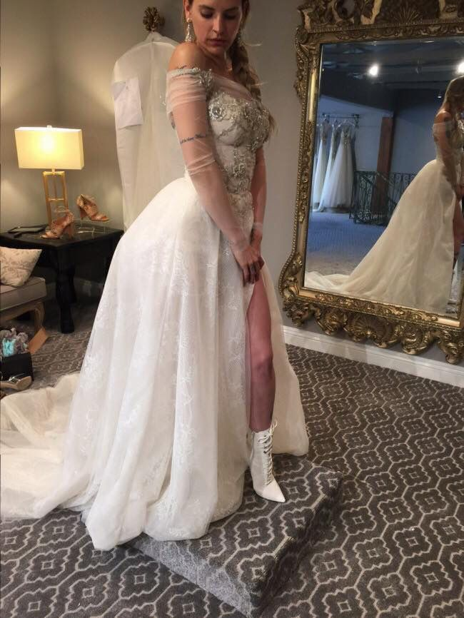 Juliet Simms Trying On Wedding Dresses She Is Wearing Her Actual