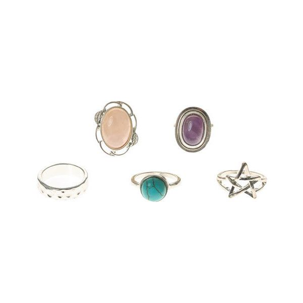 5 Pack Mystical Stone Rings (160 ARS) ❤ liked on Polyvore featuring jewelry, rings, witch, stone rings, stone jewelry and stone jewellery