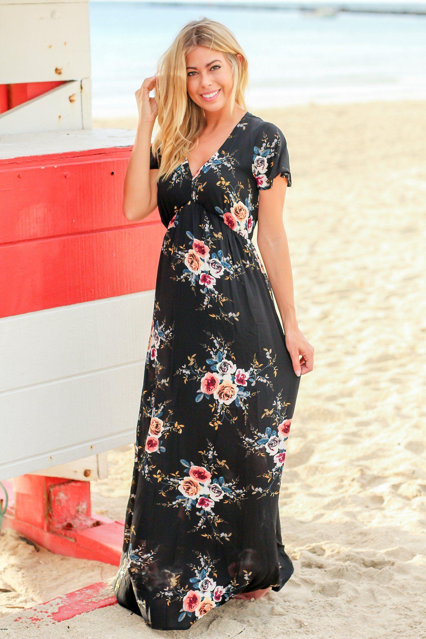 Black floral short sleeve vneck maxi dress floral shorts maxi