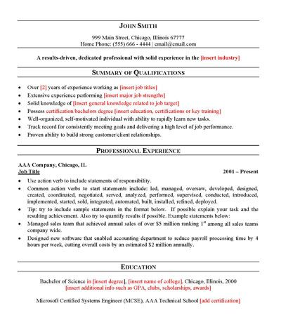 Free General Resume Template Sample resume templates, Sample - general resume summary