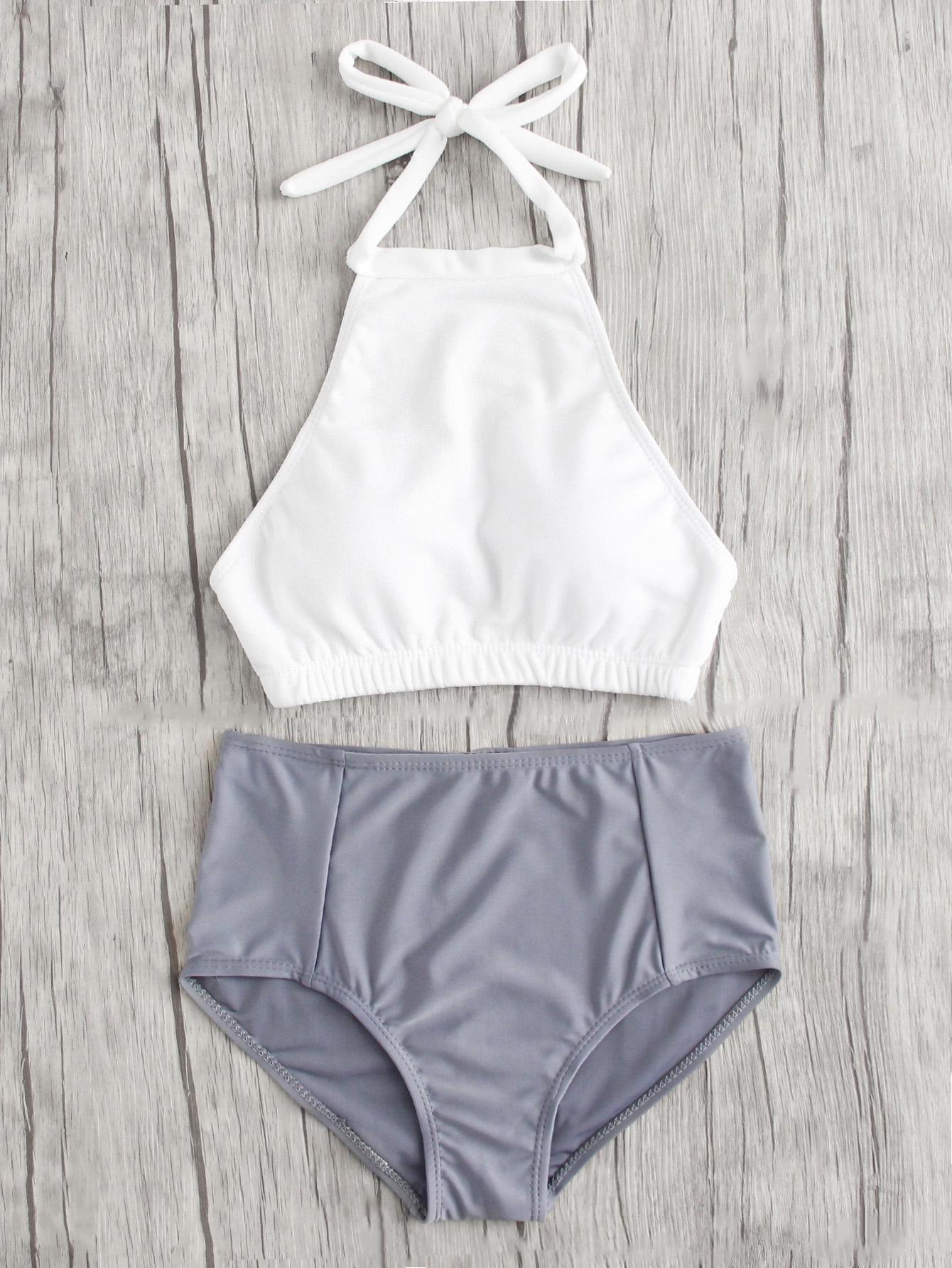 8b4dccd5d4 #Spring #AdoreWe #SheIn - #SheIn Mix And Match High Neck Bikini Set -  AdoreWe.com
