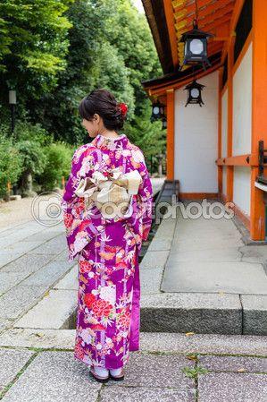 Mujer asiática en vestido tradicional Japon — Foto de Stock