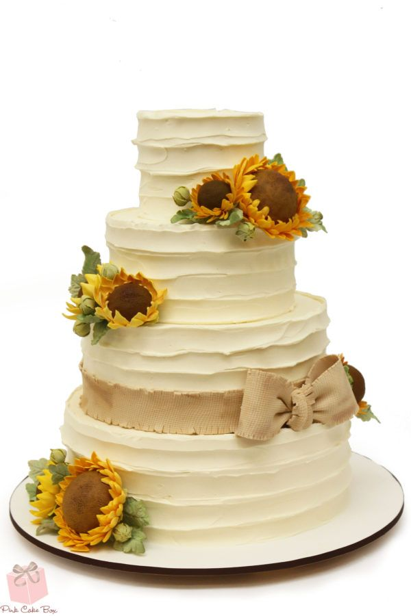 Rustic Buttercream Sunflower Wedding Cake » Wedding Cakes | Wedding ...