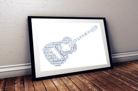 Guitar personalised art print  guitar print by pienosudesigns